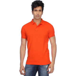 Ketex Men's Orange Plain Synthetic Polo Collar T-Shirt