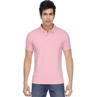 Ketex Men's Pink Plain Synthetic Polo Collar T-Shirt