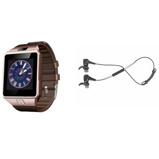 Mirza DZ09 Smart Watch and Reflect Earphone for LG G3 BEAT(DZ09 Smart Watch With 4G Sim Card, Memory Card| Reflect Earphone)