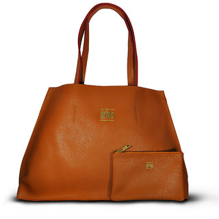 Womens Bucket Tote Bag in Bag Brown with Pouch (Corsica Brun)