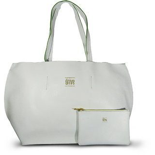 Womens Round Tote Bag in Bag White with Pouch (Bordeaux Blanc)
