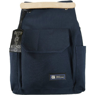 Unisex Blue Double Style Canvas Convertible Laptop Bag (Loches Bleu)
