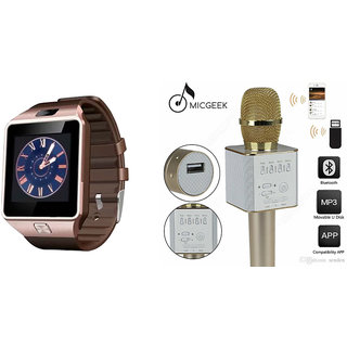 Mirza DZ09 Smart Watch and Q9 Microphone Karrokke Bluetooth Speaker for PANASONIC ELUGA TURBO(DZ09 Smart Watch With 4G Sim Card, Memory Card| Q9 Microphone Karrokke Bluetooth Speaker)