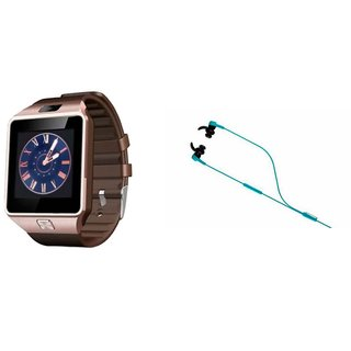 Mirza DZ09 Smart Watch and Reflect Earphone for SAMSUNG GALAXY NOTE EDGE(DZ09 Smart Watch With 4G Sim Card, Memory Card| Reflect Earphone)