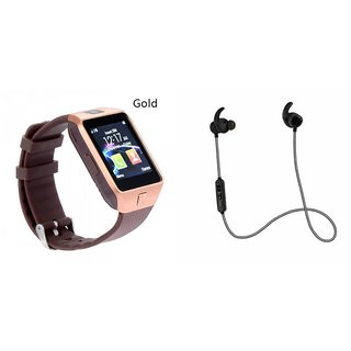 Mirza DZ09 Smart Watch and Reflect Earphone for MICROMAX BOLT A40(DZ09 Smart Watch With 4G Sim Card, Memory Card| Reflect Earphone)
