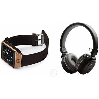 Mirza DZ09 Smart Watch and SH 10 Bluetooth Headphone for MICROMAX BOLT Q331(DZ09 Smart Watch With 4G Sim Card, Memory Card| SH 10 Bluetooth Headphone)