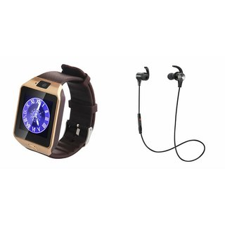 Mirza DZ09 Smart Watch and Reflect Earphone for SAMSUNG GALAXY NOTE 5(DZ09 Smart Watch With 4G Sim Card, Memory Card| Reflect Earphone)
