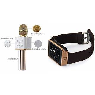 Clonebeatz DZ09 Smartwatch and Q7 Microphone Karrokke and Bluetooth Speaker  for SONY xperia m4 aqua (DZ09 Smart Watch With 4G Sim Card, Memory Card  Q7 Microphone Karrokke and Bluetooth Speaker)