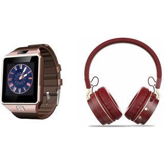Mirza DZ09 Smart Watch and SH 10 Bluetooth Headphone for HTC DESIRE 600C(DZ09 Smart Watch With 4G Sim Card, Memory Card| SH 10 Bluetooth Headphone)