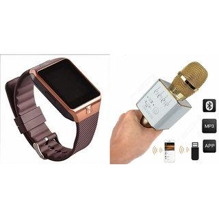 Mirza DZ09 Smart Watch and Q9 Microphone Karrokke Bluetooth Speaker for PANASONIC ELUGA L 4G(DZ09 Smart Watch With 4G Sim Card, Memory Card| Q9 Microphone Karrokke Bluetooth Speaker)