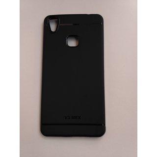 Vivo V3 Max Plain Black Rubber Back Cover For