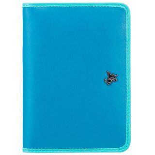 Visconti Rhodes Hummingbird Blue & Light Blue Color Genuine Leather Passport Holder For Woman