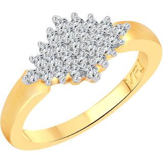 Vighnaharta Beautiful Rhombus Shape CZ Gold and Rhodium Plated Alloy Ring for Women and Girls - [VFJ1247FRG16]
