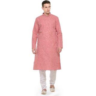 RG Designers Red  White Full Sleeves Kurta  Pyjama Set For Men
