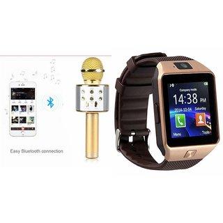 Clonebeatz DZ09 Smartwatch and Q7 Microphone Karrokke and Bluetooth Speaker  for LG g5 (DZ09 Smart Watch With 4G Sim Card, Memory Card| Q7 Microphone Karrokke and Bluetooth Speaker)