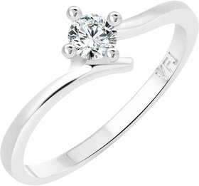 Vighnaharta Youth Solitaire CZ Rhodium Plated Alloy Ring for Women and Girls - VFJ1249FRR16