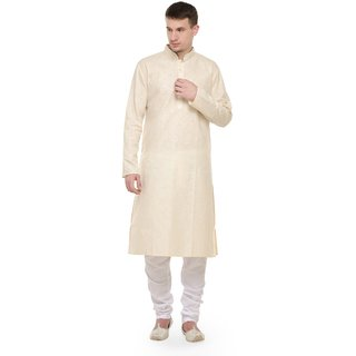 RG Designers Cream  White Full Sleeves Kurta Pyjama Set For Men