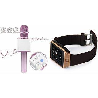 Clonebeatz DZ09 Smartwatch and Q7 Microphone Karrokke and Bluetooth Speaker  for HTC DESIRE 616 DUAL SIM(DZ09 Smart Watch With 4G Sim Card, Memory Card| Q7 Microphone Karrokke and Bluetooth Speaker)