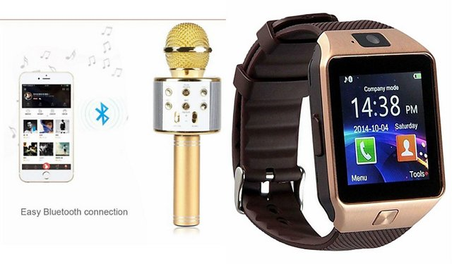 Clonebeatz DZ09 Smartwatch and Q7 Microphone Karrokke and Bluetooth Speaker  for SAMSUNG GALAXY XCOVER 3(DZ09 Smart Watch With 4G Sim Card, Memory