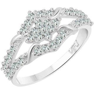 Vighnaharta Graceful Design CZ Rhodium Plated Alloy Ring for Women and Girls - [VFJ1252FRR16]