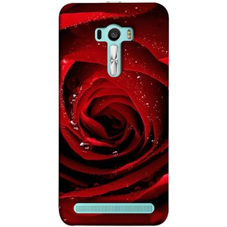 FUSON Designer Back Case Cover For Asus Zenfone Selfie ZD551KL (Closeup Of Red Rose With Sprinkled With Water Droplets)