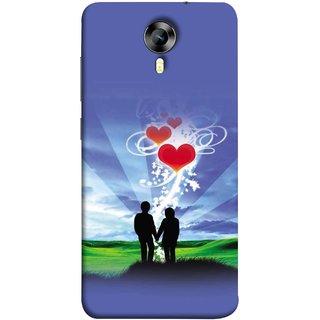 FUSON Designer Back Case Cover for Micromax CanvasNitro4G E371 (Couple Enjoying Beautiful Sunrise Red Hearts Sunshine)