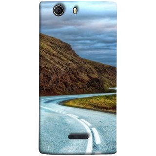 FUSON Designer Back Case Cover for Micromax Canvas Nitro 2 E311 (Scenic Road And Beautiful Mountains Highway Nature)