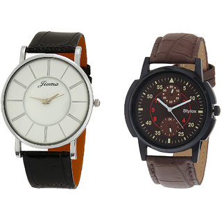 Stylox Men's Stylish Combo Of 2 Round MultiColor Dial Analogue Watches