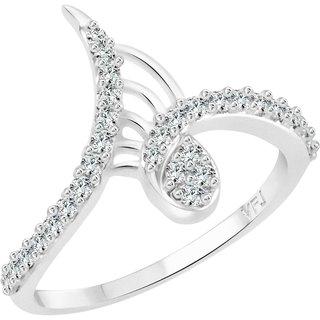 Vighnaharta Designer Finger CZ Rhodium Plated Alloy Ring for Women and Girls - [VFJ1242FRR16]