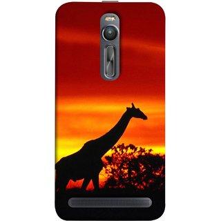 FUSON Designer Back Case Cover For Asus Zenfone 2 ZE551ML (Africa Sunset Giraffe Evening Wildlife Animals )