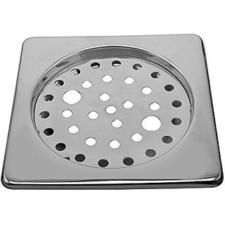 Shaks Stainless Steel Square Bathroom Floor Drain (Silver)