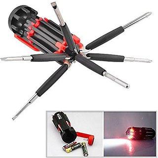 Shaks Traders Shaks - Multi-Screwdriver 8 In 1 Multi-Function Screwdriver Kit Tool Kit Set + 6 LED Light Torch