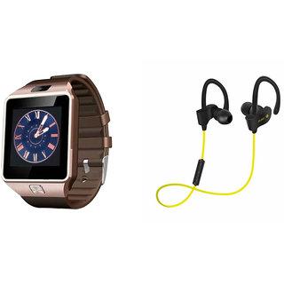 Mirza DZ09 Smart Watch and QC 10 Bluetooth Headphone for XOLO Q800.(DZ09 Smart Watch With 4G Sim Card, Memory Card| QC 10 Bluetooth Headphone)
