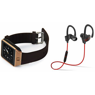 Mirza DZ09 Smart Watch and QC 10 Bluetooth Headphone for MOTOROLA razr xt910(DZ09 Smart Watch With 4G Sim Card, Memory Card| QC 10 Bluetooth Headphone)