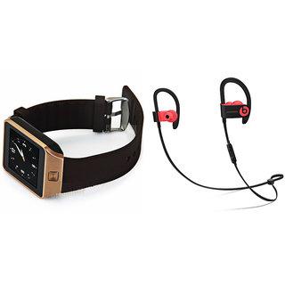 Mirza DZ09 Smart Watch and QC 10 Bluetooth Headphone for LG wine smart (2015)(DZ09 Smart Watch With 4G Sim Card, Memory Card| QC 10 Bluetooth Headphone)
