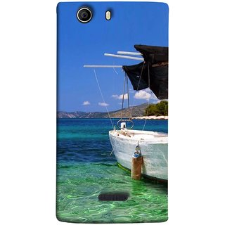 FUSON Designer Back Case Cover for Micromax Canvas Nitro 2 E311 (Boat Floating In The Clear Water Island Enjoy Holidays)