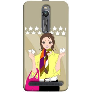 FUSON Designer Back Case Cover For Asus Zenfone 2 ZE551ML (Animated 3D Starts Pink Bag Jeans Pant Yellow Shirt )