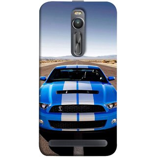 FUSON Designer Back Case Cover For Asus Zenfone 2 ZE551ML ( Road Shelby Mustang Engine Shelby Beautiful Blue)