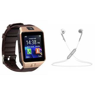 Mirza DZ09 Smart Watch and S6 Bluetooth Headsetfor XOLO Q700S (DZ09 Smart Watch With 4G Sim Card, Memory Card| S6 Bluetooth Headset)