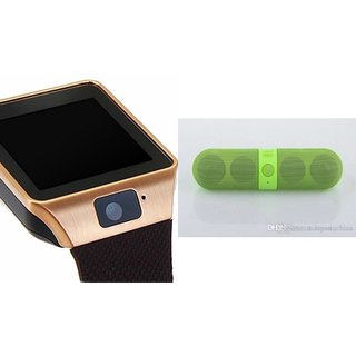 Mirza DZ09 Smartwatch and Facebook Pill Bluetooth Speaker  for HTC DESIRE 7060(DZ09 Smart Watch With 4G Sim Card, Memory Card| Facebook Pill Bluetooth Speaker)