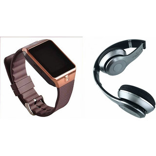 Mirza DZ09 Smart Watch and S460 Bluetooth Headphone for OPPO A33(DZ09 Smart Watch With 4G Sim Card, Memory Card| S460 Bluetooth Headphone)