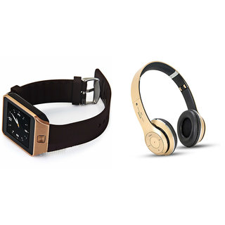 Mirza DZ09 Smart Watch and S460 Bluetooth Headphone for LG L40(DZ09 Smart Watch With 4G Sim Card, Memory Card| S460 Bluetooth Headphone)