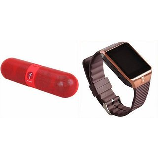 Mirza DZ09 Smartwatch and Facebook Pill Bluetooth Speaker  for GIONEE P5W(DZ09 Smart Watch With 4G Sim Card, Memory Card| Facebook Pill Bluetooth Speaker)