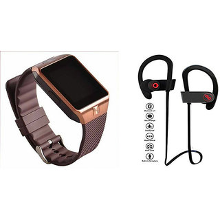 Mirza DZ09 Smart Watch and QC 10 Bluetooth Headphone for HTC DESIRE SV(DZ09 Smart Watch With 4G Sim Card, Memory Card| QC 10 Bluetooth Headphone)