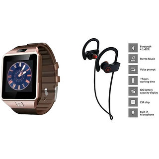 Mirza DZ09 Smart Watch and QC 10 Bluetooth Headphone for MICROMAX BOLT A066(DZ09 Smart Watch With 4G Sim Card, Memory Card| QC 10 Bluetooth Headphone)