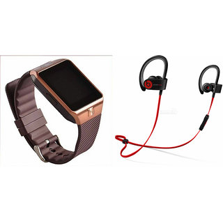 Mirza DZ09 Smart Watch and QC 10 Bluetooth Headphone for SAMSUNG GALAXY CORE PRIME VE(DZ09 Smart Watch With 4G Sim Card, Memory Card| QC 10 Bluetooth Headphone)
