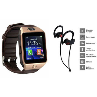 Mirza DZ09 Smart Watch and QC 10 Bluetooth Headphone for MICROMAX CANVAS XL (DZ09 Smart Watch With 4G Sim Card, Memory Card| QC 10 Bluetooth Headphone)