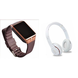 Mirza DZ09 Smart Watch and S460 Bluetooth Headphone for XOLO Q1010(DZ09 Smart Watch With 4G Sim Card, Memory Card| S460 Bluetooth Headphone)