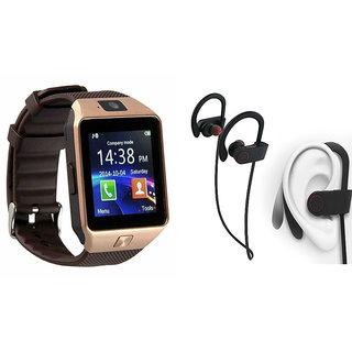 Mirza DZ09 Smart Watch and QC 10 Bluetooth Headphone for SAMSUNG GALAXY S 6 EDGE(DZ09 Smart Watch With 4G Sim Card, Memory Card| QC 10 Bluetooth Headphone)