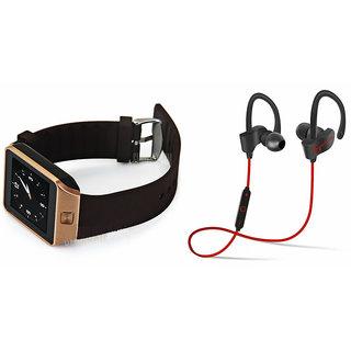 Mirza DZ09 Smart Watch and QC 10 Bluetooth Headphone for REDMI 3(DZ09 Smart Watch With 4G Sim Card, Memory Card| QC 10 Bluetooth Headphone)